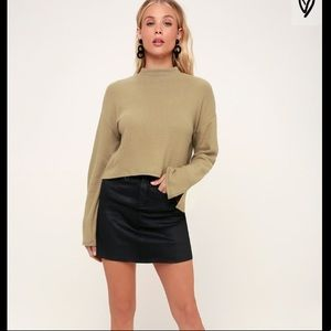 Khaki Mock Neck Cropped Sweater Top